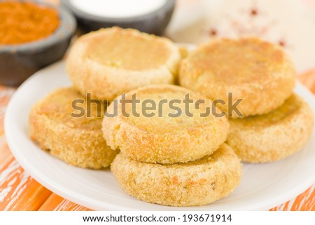 Batata Chap - Middle Eastern potato croquette filled with lamb. Arab traditional street food. - stock photo
