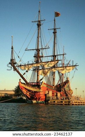 Batavia historic galleon from Netherlands by sunset. Old ship. Lelystad, Flevoland.