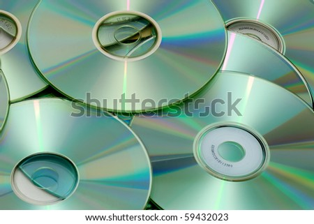 batch of Compact Disks - stock photo