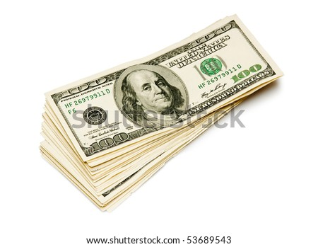 batch of dollars isolated on white - stock photo