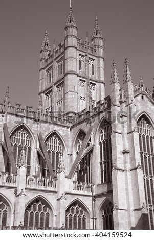 Bath Abbey Tower, England; UK in Black and White Sepia Tone