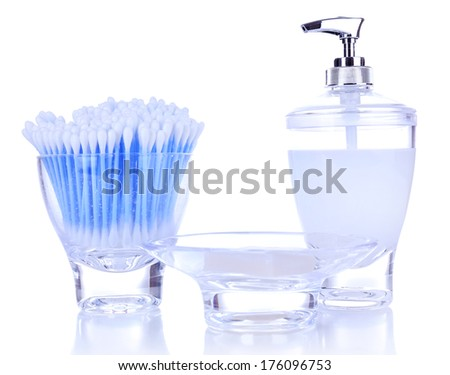 Bath accessories isolated on white