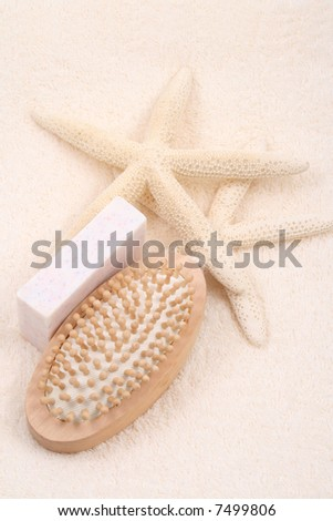 bath accessories - towel soap and bath brush