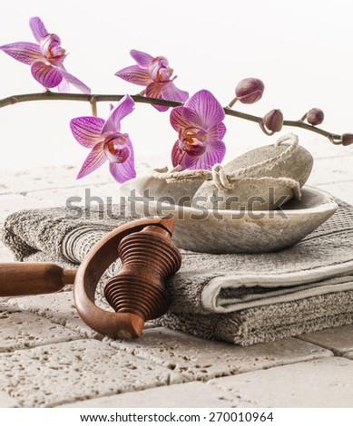 bath and footcare with femininity - stock photo