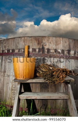 Bath Barrel with broom and ladle - stock photo