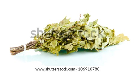 Bath broom of oak isolated on white - stock photo