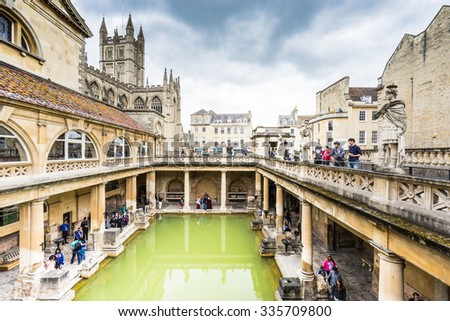 Bath city, England - MAY 3 : Roman baths interiors pictured on May 3, 2015 in Bath city, England. It was featured on a 2005 TV program Seven Natural Wonders as one of the wonders of the West Country. - stock photo