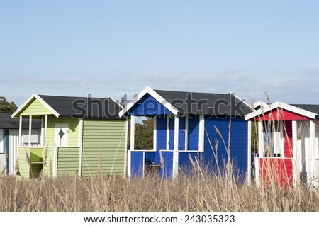 Bath huts in nice colors, south of Sweden.