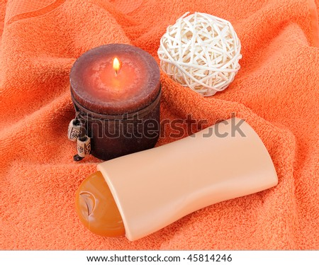 Bath items for shower with a candle. - stock photo