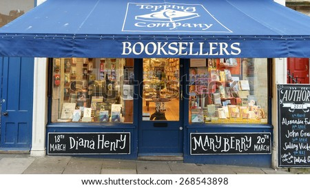 BATH - MAR 11: Exterior view of an independent book shop on a city street on Mar 11, 2015 in Bath, UK. The Somerset city has a thriving independent commercial sector despite inroads by chain stores. - stock photo