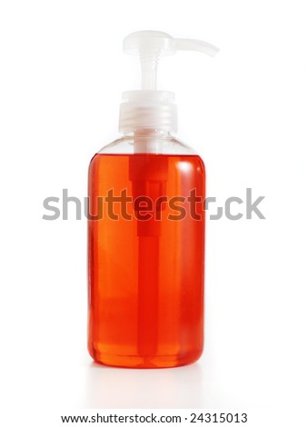Bath product bottle against a white background. - stock photo
