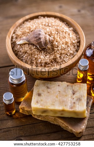 Bath salt, aromatherapy oil and natural soap - stock photo