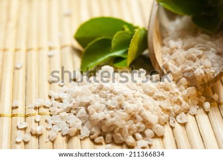 bath salt on bamboo - stock photo