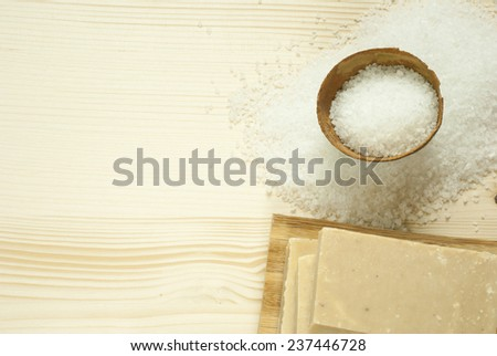bath salt on natural wooden table background - stock photo