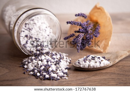 Bath salt with lavender flavour - stock photo