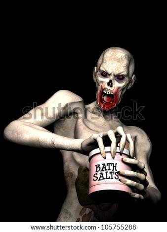 Bath Salt Zombie: An undead zombie opening a jar of bath salts. - stock photo