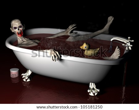 Bath Salt Zombie: An undead zombie taking a bath salt bath complete with rubber ducky with brains showing. - stock photo