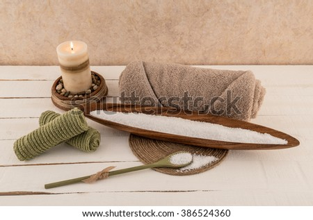Bath Salts with Spa Towel and Aromatherapy Candle - stock photo