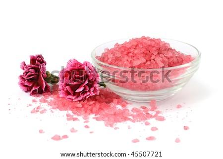 Bath sea salt with flowers - stock photo