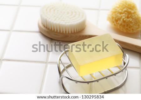 Bath, soap - stock photo