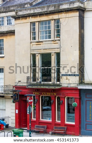 BATH, SOMERSET, UK - JULY 15 2016  The Curfew Ale House wide. Pub on Cleveland Place in the UNESCO World Heritage City of Bath, in Somerset, England