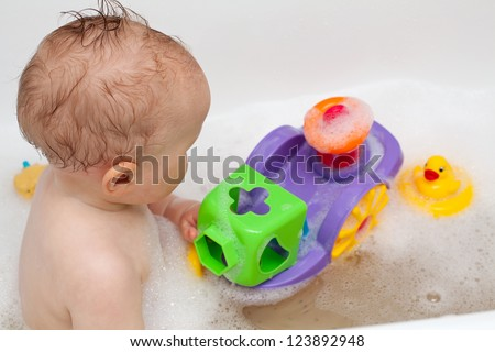 bath time for baby - stock photo