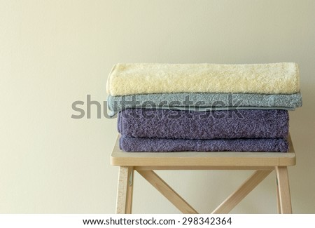 bath towel on table - stock photo