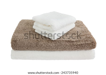 Bath towels. Isolated - stock photo