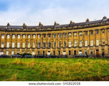 BATH, UK - CIRCA SEPTEMBER 2016: HDR The Royal Crescent row of terraced houses