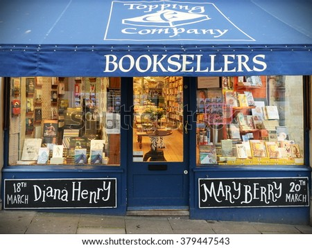 BATH, UK - MAR 11, 2015: Exterior view of an independent book shop on a city centre street. The Somerset city has a thriving independent commercial sector despite inroads by chain stores.