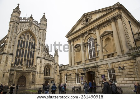 Bath, UK - October 30: View of downtown Bath, UK on October 30, 2014. The city became a spa with the Latin name Aquae Sulis c. AD 60 when the Romans built baths and a temple near the River Avon.