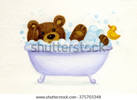 Bathing baby bear, watercolor. - stock photo