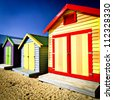 Bathing boxes at Brighton Beach - stock photo