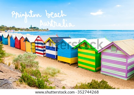 Bathing boxes at Brighton Beach, Australia with hand written text