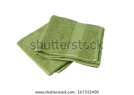 Bathing green terry towel - stock photo