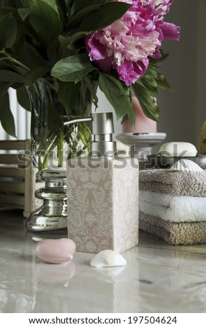 bathroom accessories and pampering, relaxing, still life - stock photo