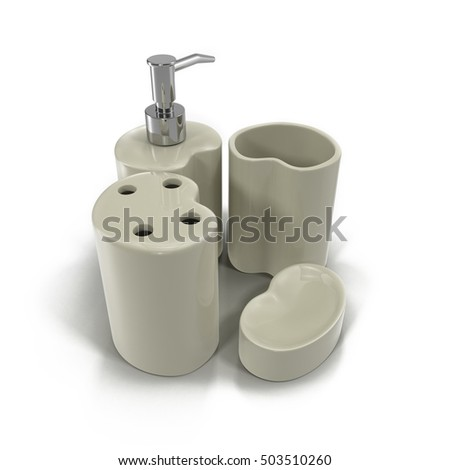 Bathroom accessories on white 3D Illustration