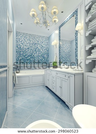 Bathroom art deco style. Long bathroom with a mix of tile and plaster light blue color. Mosaic wall and frame mirror. 3D render