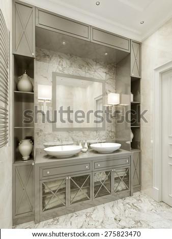 Bathroom Avant-garde style. 3d render - stock photo