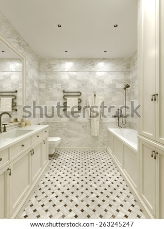 Bathroom classic style, 3D render