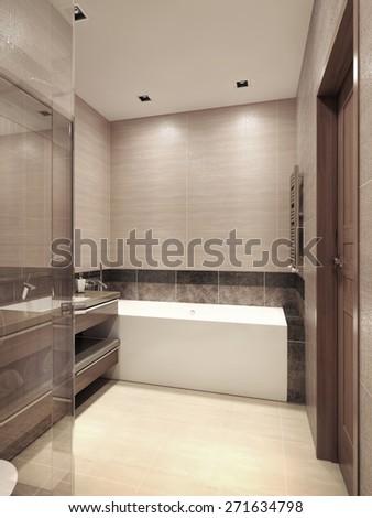 Bathroom contemporary style. 3d render - stock photo