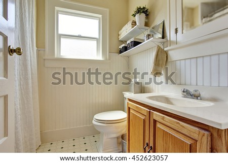 Bathroom design in creamy colors with brown wooden cabinet and small window. Decorated with plant pot on the shelf.