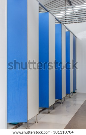 bathroom door many and blue