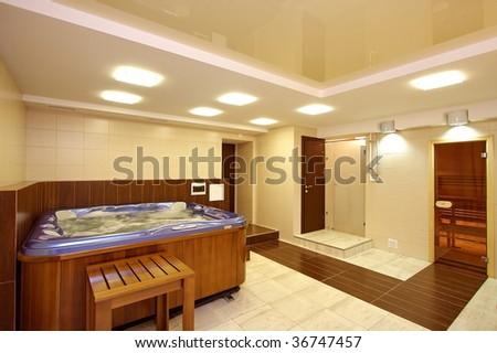Bathroom from the big hydromassage bathroom - stock photo