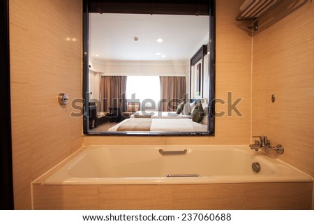 Bathroom in bedroom.Modern house bathroom interior - stock photo