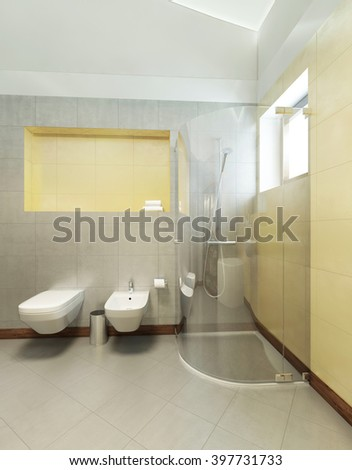 Bathroom in Contemporary style. Room with gray and yellow tiles on the walls of a shower cubicle, wash basin, toilet and bidet. 3D render.
