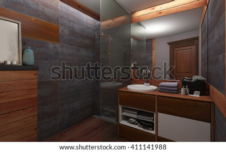 Bathroom In Dark Color And Wood 3d rendering