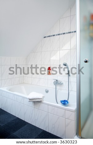 Bathroom in family house in white