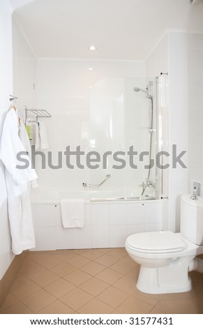 Bathroom in hotel, clean and white