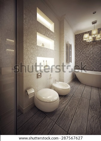 bathroom in modern style. 3d visualization